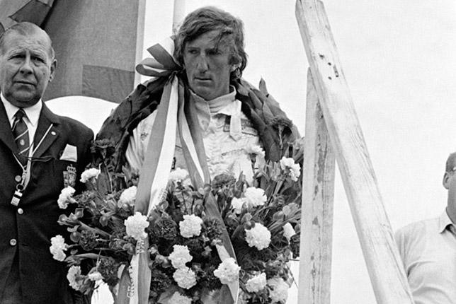 Йохен Риндт на подиуме Гран При Нидерландов 1970 года