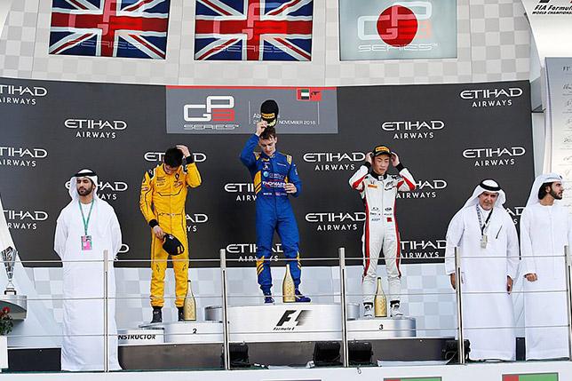 Подиум второй гонки GP3 в Абу-Даби