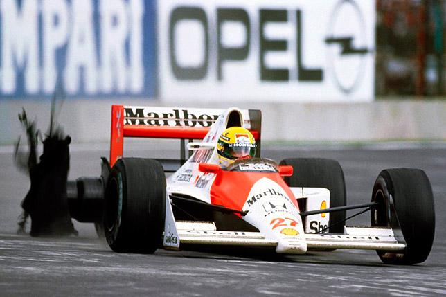Взрыв шины на McLaren Айртона Сенны на Гран При Мексики 1990 года