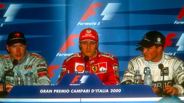 Мика Хаккинен, Михаэль Шумахер и Ральф Шумахер на пресс-конференции после финиша Гран При Италии 2000 года