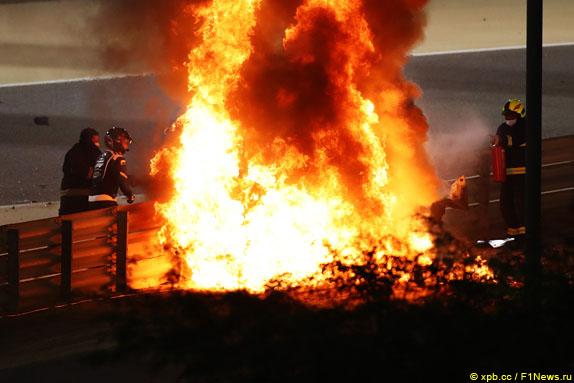 Пожар на месте аварии Романа Грожана в Бахрейне