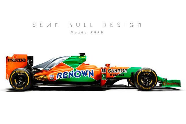 Машина Формулы 1 в ливрее Mazda для «24 часов Ле-Мана». Фантазия Шона Булла