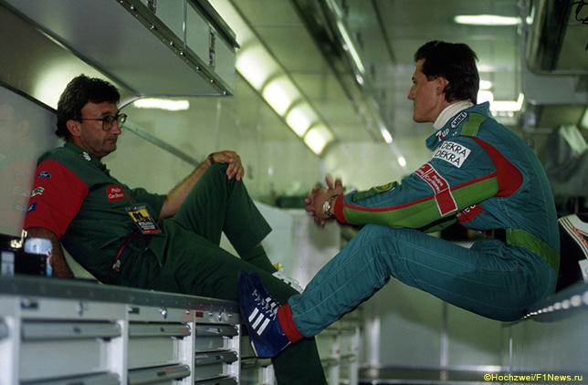 Эдди Джордан и Михаэль Шумахер в моторхоуме Jordan на Гран При Бельгии 1991 года