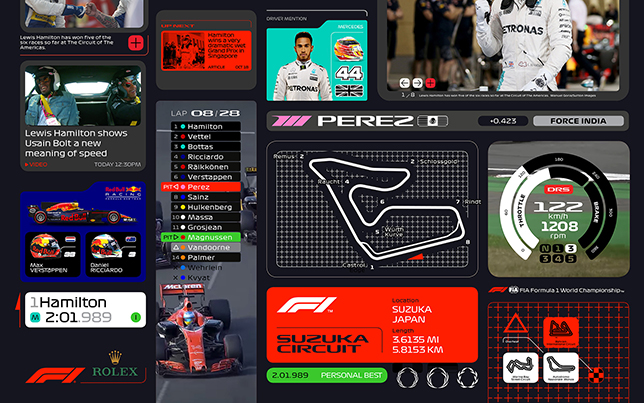 Примеры использования нового логотипа, шрифтов и графики Формулы 1. Изображение Wieden+Kennedy London