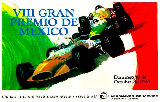 Официальный постер Гран При Мексики 1969 года