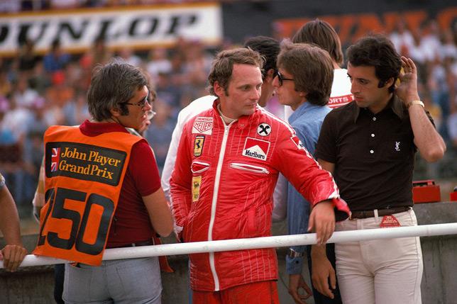 Ники Лауда, Лука ди Монтедземоло и Пьеро Феррари на Гран При Великобритании 1976 года