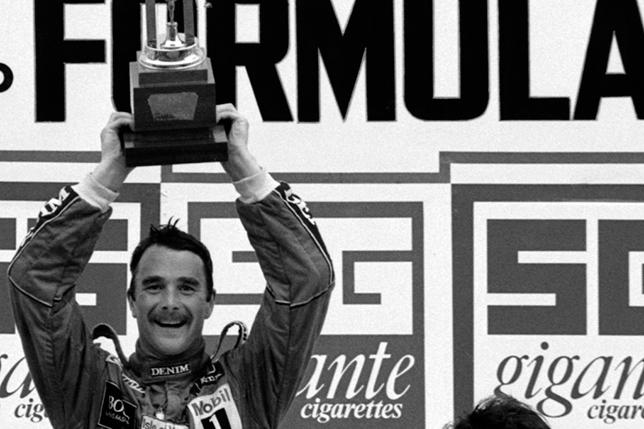 Найджел Мэнселл на подиуме Гран При Португалии 1986 года