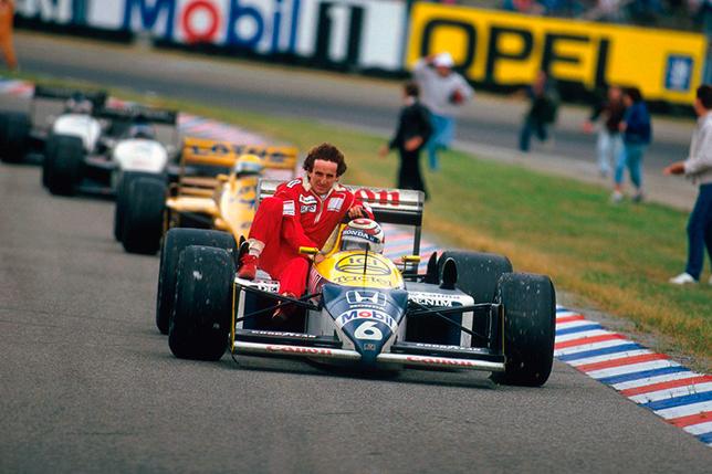 Нельсон Пике подвозит Алена Проста до боксов после финиша Гран При Германии 1986 года