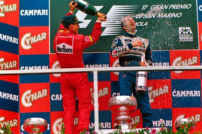 Михаэль Шумахер и Хайнц-Харальд Френтцен на подиуме Гран При Сан-Марино 1997 года