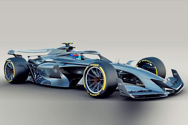 Концептуальное изображение машины Формулы 1 по регламенту 2021 года