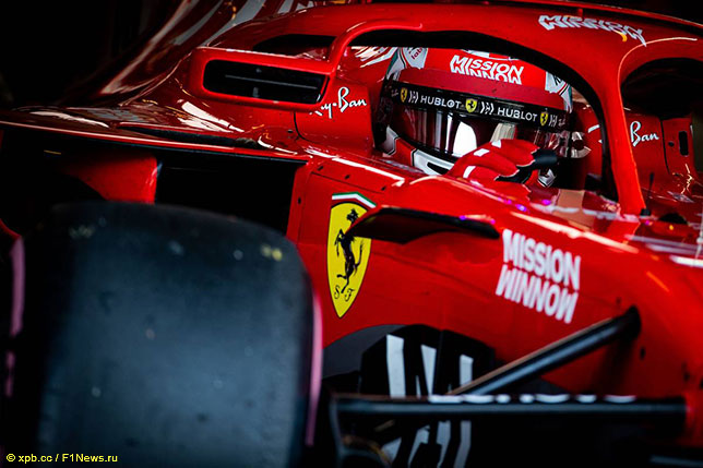 Шарль Леклер за рулём Ferrari на тестах в Абу-Даби