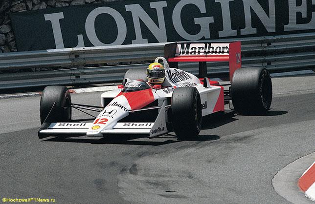 Айртон Сенна за рулём McLaren MP4/4, 1988 год