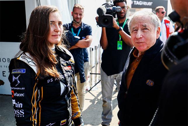 Татьяна Кальдерон и Жан Тодт, президент FIA, на тестах в Эр-Рияде