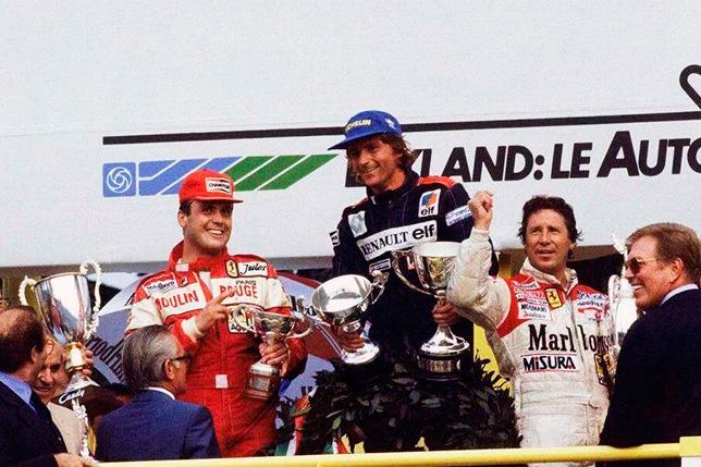Подиум Гран При Италии 1982 года: Патрик Тамбе, Рене Арну и Марио Андретти