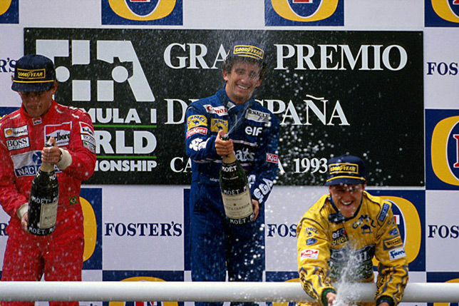 Подиум Гран При Испании 1993 года: Сенна, Прост, Шумахер