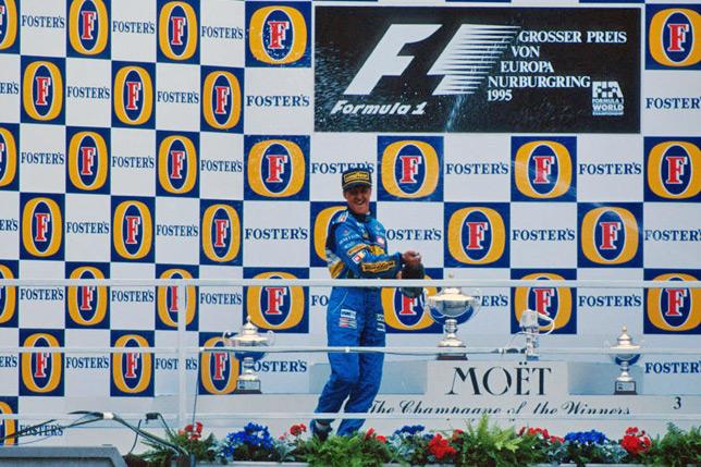 Михаэль Шумахер на подиуме Гран При Европы 1995 года