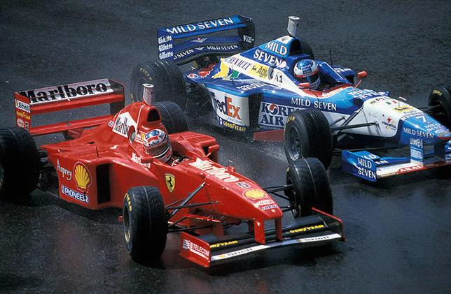 Михаэль Шумахер опережает Жана Алези на Гран При Бельгии 1997 года