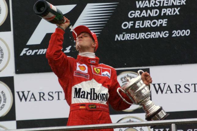 Михаэль Шумахер на подиуме Гран При Европы 2000 года