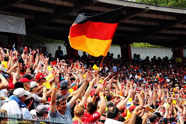 Немецкие болельщики на трибунах в Хоккенхайме, 2018 год
