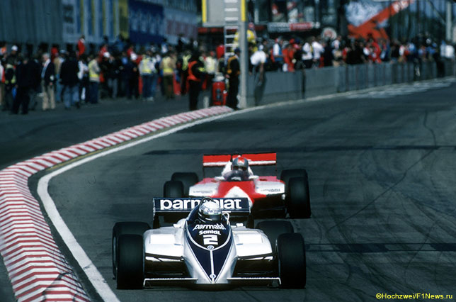 Риккардо Патрезе за рулём Brabham-BMW на трассе в Зольдере, Гран При Бельгии 1982 года