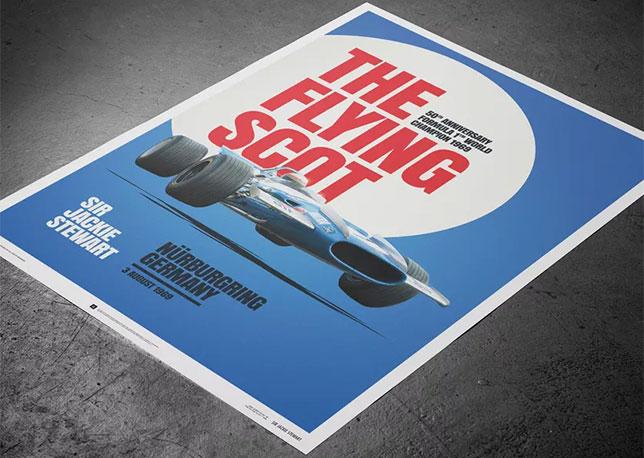 Постер, посвящённый Гран При Германии на Северной Петле Нюрбургринга, где Джеки Стюарт в разные годы побеждал трижды