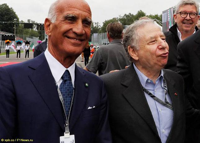 Анжело Стикки Дамиани (слева), Жан Тодт, президент FIA, и Росс Браун, спортивный директор Формулы 1