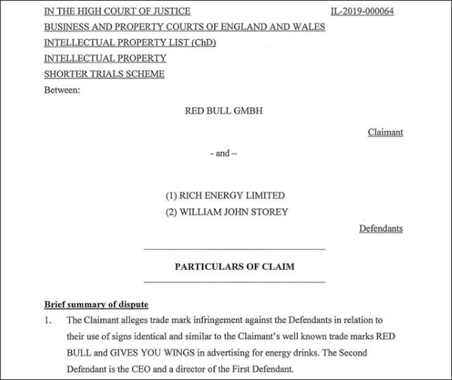 Первая страница официального обращения Red Bull в суд
