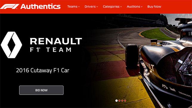 Скриншот домашней страницы сайта F1Authentics