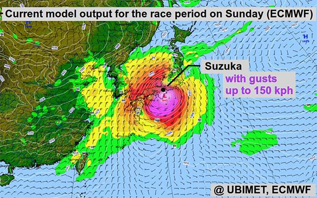 Сузука может оказаться в эпицентре тайфуна Hagibis, но это самый худший сценарий