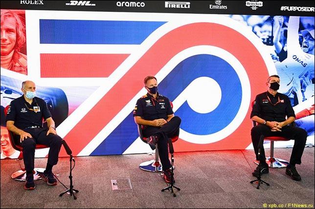 Кристиан Хорнер (Red Bull Racing), Гюнтер Штайнер (Haas), Франц Тост (AlphaTauri)