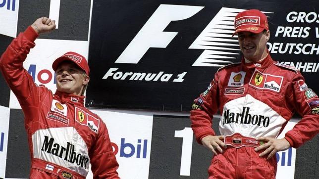 Мика Сало и Эдди Ирвайн на подиуме Гран При Германии, 1999 год