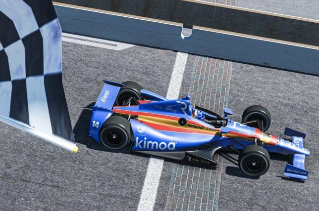 Фернандо Алонсо первым пересекает линию финиша на виртуальной трассе в Индианаполисе