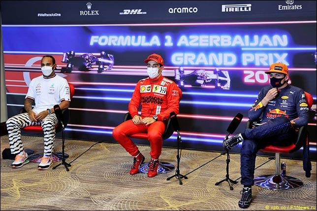 Льюис Хэмилтон (Mercedes), Шарль Леклер (Ferrari) и Макс Ферстаппен (Red Bull Racing)