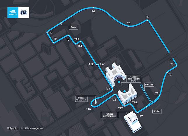 Схема трассы римского этапа Формулы E
