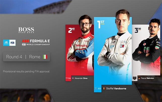 Формула E: Воскресную гонку в Риме выиграл Вандорн