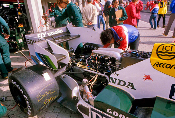 Турбомотор Honda на машине Williams на Гран При Нидерландов 1984 года