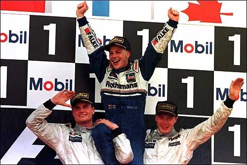 Подиум Гран При Европы'97. Жак Вильнев - чемпион мира