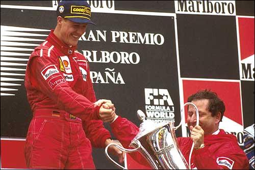 Подиум Гран При Испании'96: Михаэль Шумахер и Жан Тодт