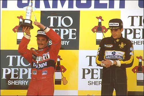 Подиум Гран При Испании'86 - Найджел Мэнселл и Айртон Сенна