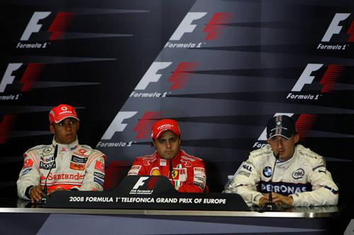 Слева направо: Льюис Хэмилтон (McLaren Mercedes), Фелипе Масса (Ferrari), Роберт Кубица (BMW Sauber)