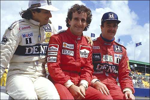 Нельсон Пике, Ален Прост и Найджел Мэнселл. Гран При Австралии'86