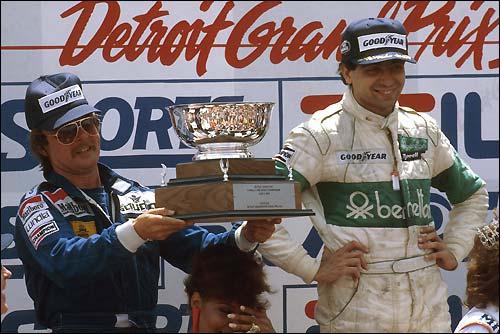 Подиум Гран При США'83: Микеле Альборето и Кейо Росберг