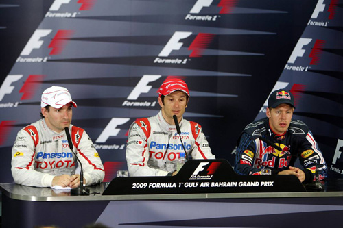 Слева направо: Тимо Глок, Ярно Трулли, Себастьян Феттель