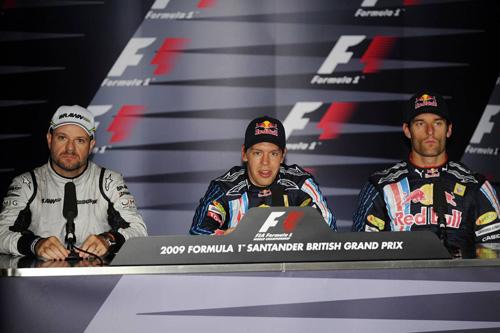 Слева направо: Рубенс Баррикелло, Себастьян Феттель, Марк Уэббер.