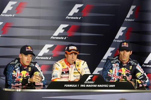 Слева направо: Себастьян Феттель, Фернандо Алонсо, Марк Уэббер