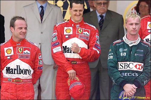 Рубенс Баррикелло, Михаэль Шумахер, Эдди Ирвайн. Гран При Монако'01