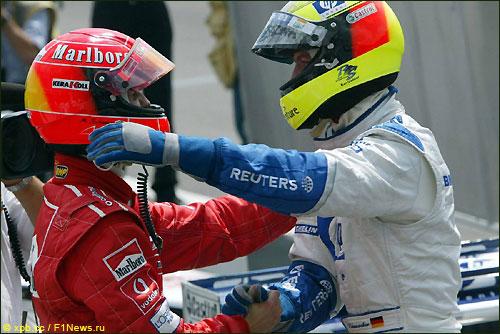 Михаэль и Ральф Шумахеры на Гран При Германии