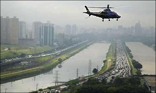 Воздушное такси в небе над Сан-Паулу