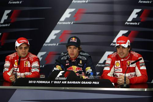 Слева направо: Фелипе Масса, Себастьян Феттель, Фернандо Алонсо