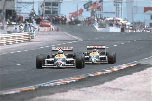 Найджел Мэнселл и Нельсон Пике лидируют в Гран При Франции 1987 года
